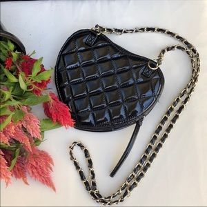 ASOS heart shaped, black quilted cross body purse